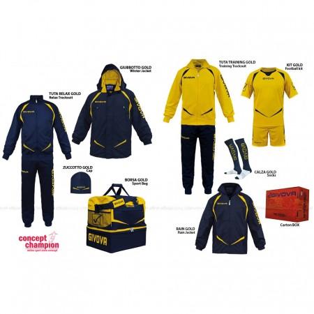 Set complet echipament sportiv Box Gold Bleumarin-Galben GIVOVA