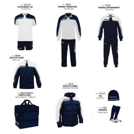 Set complet echipament fotbal Box Platinum, Alb-Bleumarin, GIVOVA