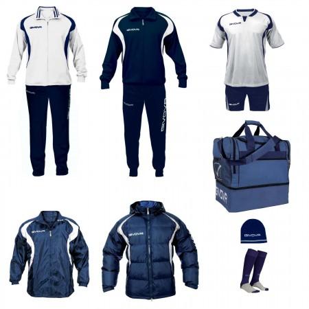 Set complet echipament fotbal Givova Alb-Albastru