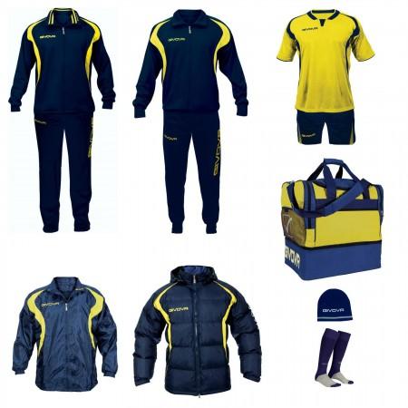 Set complet echipament fotbal Givova Albastru-Galben