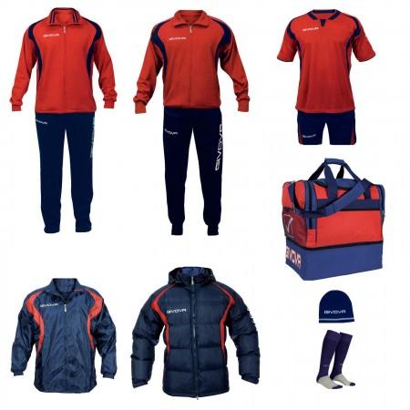 Set complet echipament fotbal Givova Rosu-Albastru