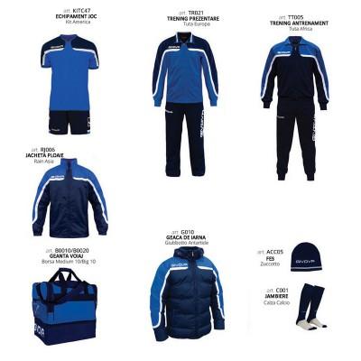 Set complet echipament fotbal Box Platinum, Albastru-Bleumarin, GIVOVA