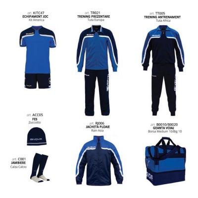 Set complet echipament fotbal Box Platinum Basico, Albastru-Bleumarin, GIVOVA