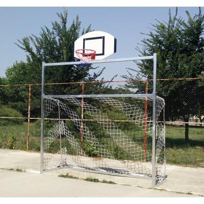 Poarta fotbal 3x2 m cu panou de baschet atasat