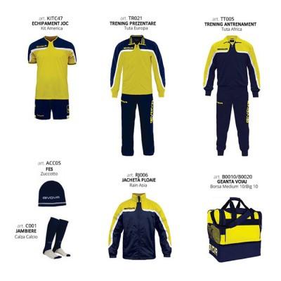 Set complet echipament fotbal Box Platinum Basico, Galben-Bleumarin, GIVOVA